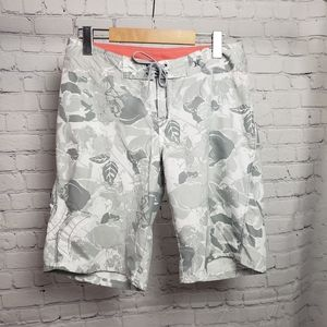Hurley Gray Floral Board Shorts Swim Bathing Suit